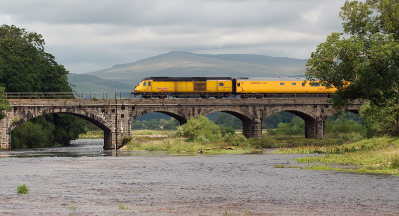 43013, 1Q17, Arkholme, 19 July 2008 - 1331    The New Measurement Train pays a rare visit to the little North Western en route from Derby to Heaton via Hellifield, Carnforth, Shap and Hexham.  43014 was the other power car.
