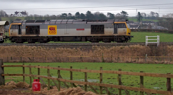 60013 Robert Boyle, 6K05, Bolton-le-Sands, 15 January 2007 - 1550   Yet another tug on EWS's Carlisle - Crewe departmental, normally monopolised by 66s.