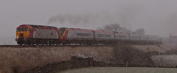 57304 Gordon Tracy & 390001 Virgin Pioneer, 1S15, Selside, 6 April 2008 - 1639 1     Virgin's diverted 1031 Euston - Glasgow climbs the long drag in a blizzard.
