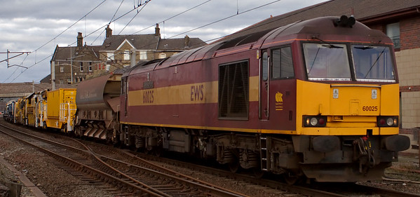 60025 Caledonian Paper, 6K05, Carnforth, 18 March 2008 - 1550    EWS's 1314 Carlisle - Crewe departmental.