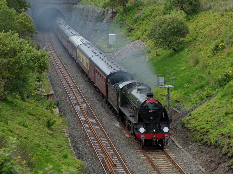 30777 Sir Lamiel, 1Z11, Blea Moor Tunnel, 6 August 2008 - 1832    Sir Lamiel leaves Blea Moor Tunnel about 15 minutes early with the return leg of Kingifsher's Hellifield - Carlisle 'Dalesman.'