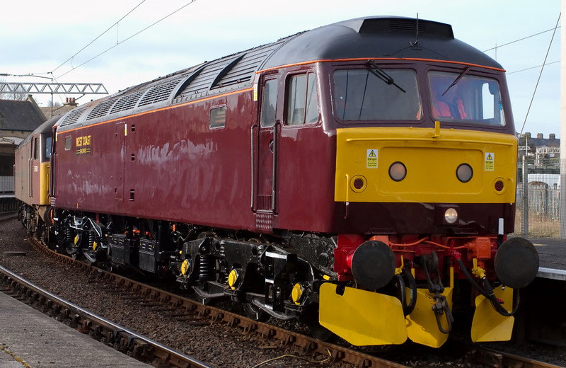 47760 & 57601. 0Z47, Carnforth, 10 April 2008 - 0813    The former EWS loco makes its mainline debut for WCRC, running light via Skipton to York with the 57 to move NRM locos to Shildon.