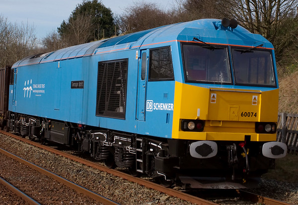 60074 Teenage Spirit, 6E13, Long Preston, 19 March 2008 - 1402 2    A closer look at the loco, newly re-liveried in the powder blue of the Teenage Cancer Trust by EWS.  It was unveiled at the NRM on 4 March.  NB that it carries 'DB Schenker' branding, not EWS.