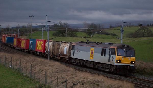 92015 D H Lawrence, 4C67, Penrith, 23 February 2008 - 1709   EWS's 0634 Trafford Park - Carlisle.