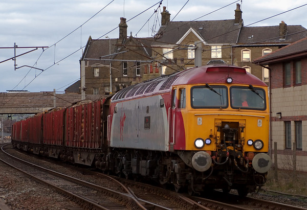 57302 Virgil Tracy, 6J37, Carnforth, 18 March 2008 - 1623    Colas's 1327 Carlisle - Chirk timber advances slowly towards Carnforth's up loop, where it was overtaken by 142041 on Northern's 1241 Carlisle - Barrow - Lancaster.