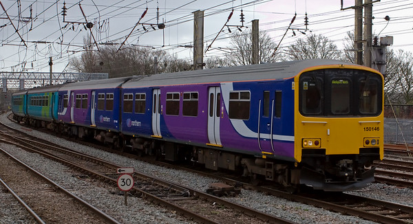 150146 & 156497, Preston, 1 March 2008 - 1224    Northern's 1037 Buxton - Blackpool North.