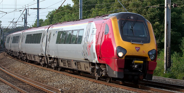 221111 Roald Amundsen, Lancaster, 23 July 2008 - 1817  Only two of Virgin's Scotland - Birmingham services are booked not to call at Lancaster.  One is the 1610 from Glasgow, seen here taking the up fast line through the station.