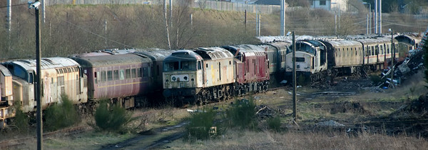 37165, 47194, 37158, 37235 & 37222, Carnforth, 30 March 2008    NB the CCTV cameras...
