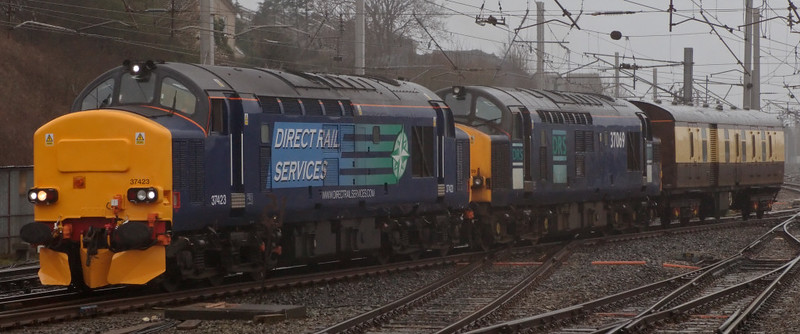 37423 & 37069, 5Z20, Carnforth, 20 March 2008 - 1350    DRS use two locos to move WCRC generator van 6312 from Steamtown to Polmadie.