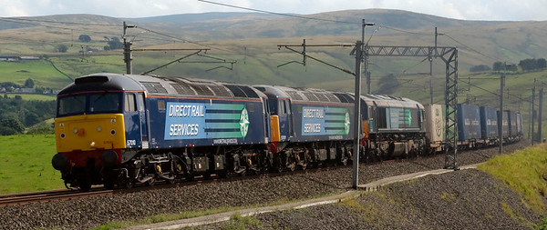 57010, 57011 & 66412, 4Z50, Greenholme, 16 August 2008 - 1400   As part of their shakedown for leafbusting duties, the two 57s drag the dead 66 on DRS's SO(Q) 0902 Daventry - Grangemouth.  The 57s came off at Kingmoor, and ran light to Gresty Bridge with 66429 & 66414.