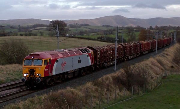 57314 Firefly, 6J37, Docker, 7 November 2008 - 1602     Colas's 1327 Carlisle - Chirk timber, which is expected to run via the Settle & Carlisle from December.