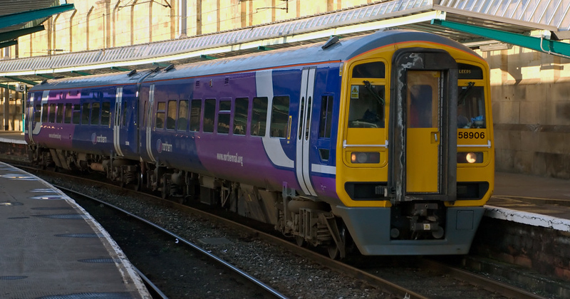 158906, Carlisle, 16 January 2008 - 1504    Northern's 1503 Carlisle - Leeds sets off, worked by a  re-liveried West Yorkshire PTE 158.