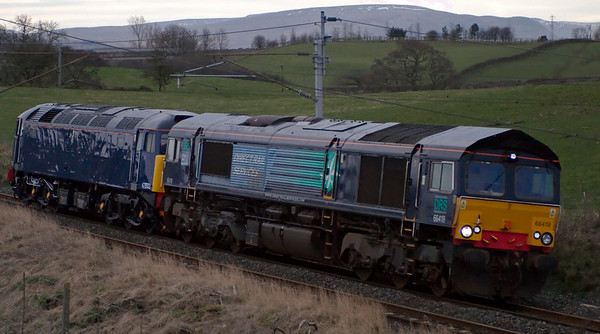 66419 & 47832, Penrith, 17 March 2008 - 1721    A Loughborough - Kingmoor move after a bogie transplant at Brush for the 47.