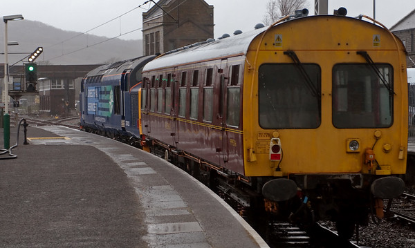 37423, Carnforth, 11 March 2008 2 - 1530   The 37 sets off towards Hellifield with saloon 999506, picked up at Steamtown.