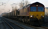 66211, 6S13, Carnforth, 18 December 2008 - 0800 1   The 0638 Warrington - New Cumnock mgr empties approaches Carnforth on a lovely but frosty morning.  Fewer coal trains now run on the northern WCML, because power stations have begun sourcing coal through ports such as Tyne Dock and Portbury.