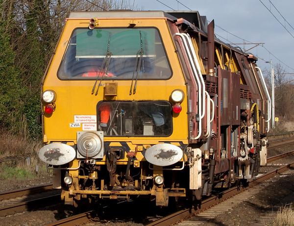 DR 73272, Carnforth, 24 January 2008 - 1335   Fastline's Plasser & Theurer 07-16 Universal Tamper / Liner