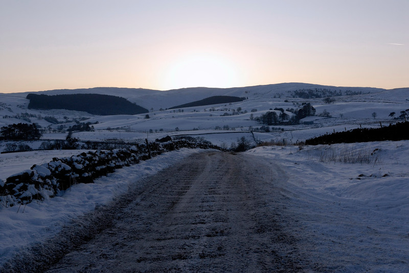 Snow at Greenholme, Fri 8 January 2010 3: 1531     Looking west towards the Cumbrian hamlet as the sun sets.