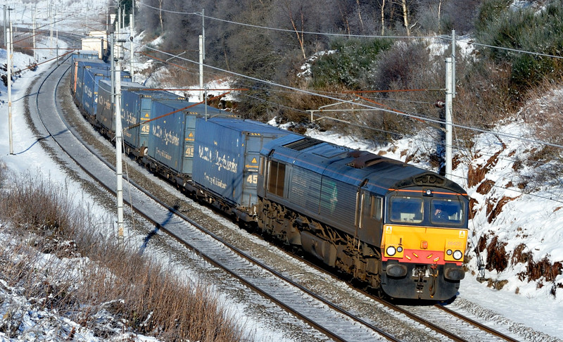 66420, 4M44, Greenholme, Fri 8 January 2010 - 1233        DRS's 0847 Mossend - Daventry Malcolms makes a very careful descent from Shap Summit.  The train is shorter than it used to be as it no longer carries Stobart containers.
