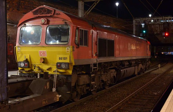66101, 4S49, Preston, Tues 25 April 2017 - 0254 1.  DB Cargo's 2158 Daventry - Grangemouth intermodal sets off into the single line working 101 minutes late.