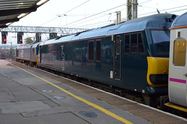 66301 & 92010, 1M11, Preston, Tues 25 April 2017 1 - 0541.  The 2340 Glasgow / Edinburgh - Euston Caledonian Sleeper.  It had been dragged from Lancaster through the single line working.  The train had reached Lancaster on time but left 66 minutes late and reached Preston 158 late.  66301 had previously dragged 1S25 (92014)  from Crewe to Lancaster.  It had left Crewe 43 late, reached Lancaster 145 late and left 170 late.