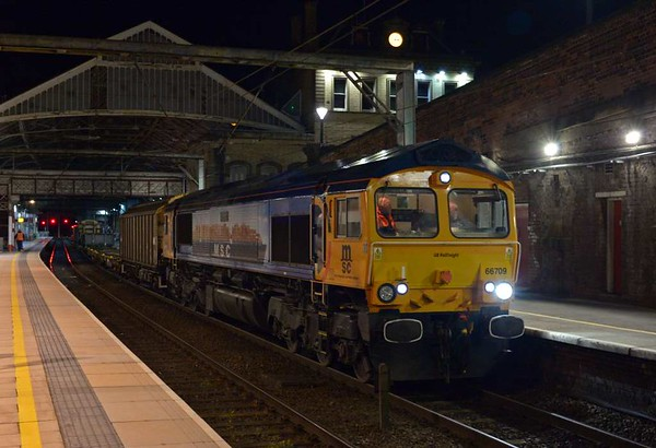 66709 Sorrento, 6M53, Preston, Tues 25 April 2017 - 0304 1.  GBRf's 2011 Bicester - Carlisle yard about to depart on time and follow 4S49 into the single line working.