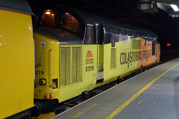 37219 Jonty Jarvis & 37116, 3Q12, Preston, Tues 25 April 2017 - 0308 1.  Colas's 2234 Derby - Carlisle High Wapping test train waits for a path north.  It eventually got away at 0529, 147 late.