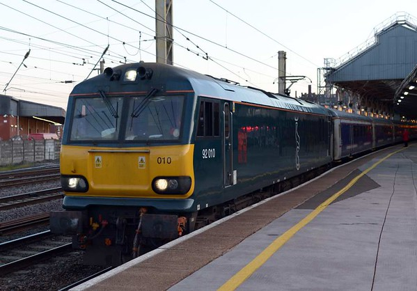 92010, 1M11. Preston, Tues 25 April 2017 - 0551.  The Lowland Sleeper finally gets away 158 minutes late.