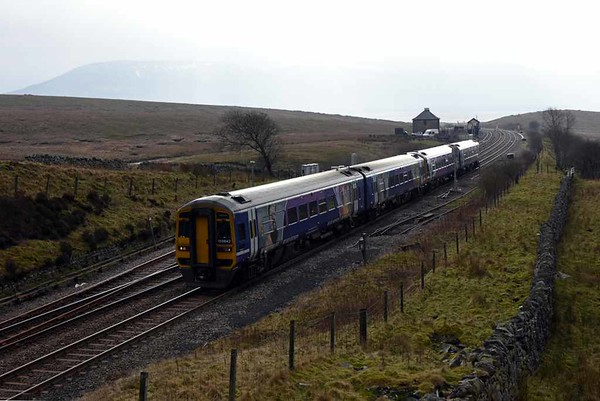 158842 & 158791 County of Nottinghamshire, 2H86, Blea Moor, Wed 15 February 2017 - 1207. Northern's 1049 Leeds - Armathwaite all stations.