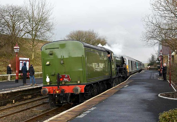 60163 Tornado & 67029 Royal Diamond, 2Z22, Horton-in-Ribblesdale, Wed 15 February 2017 1 - 0935.  Northern's 0825 Appleby - Skipton 'Plandampf' service arrives.  It called at Kirkby Stephen, Garsdale, Horton and Settle.  This was the second of three plandampf days, with two workings each way between Skipton and Appleby.  They were organised by Northern Rail to publicise the Settle & Carlisle line in anticipation of its reopening north of Armathwaite on 31 March after a year-long closure caused by a huge landslip at Eden Brows.  As the 'Plandampf' name suggests, the idea of pre-planned passenger service steam workings originated in Germany.  Lack of turning facilities at Appleby meant that Tornado had to work tender first on the southbound runs.