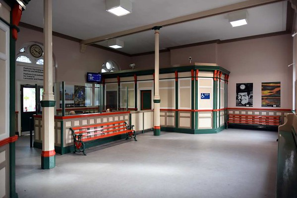 Ulverston station, 14 March 2017 9.  Here are two views of the restored booking hall.