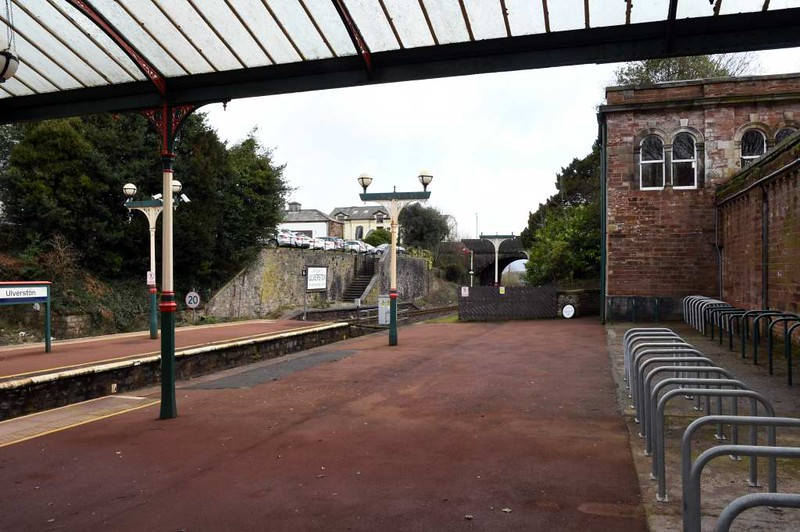 Ulverston station, 14 March 2017 4.  Looking east.  The stairway leading to the 1854 terminus can be seen.  Nearer, at right, is the former large and elaborate gentlemen's toilet, home since 2016 to the Bike Station bike hub and cafe.