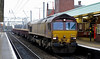 66087, 6L32, Wigan North Western, Thurs 4 February 2010 - 1445    A Carlisle - Basford Hall PW train formed of empty MOAs.