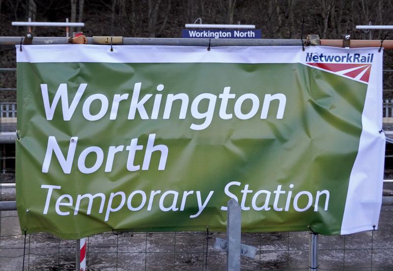 Workington North, 18 December 2009 3.     Network Rail banner.