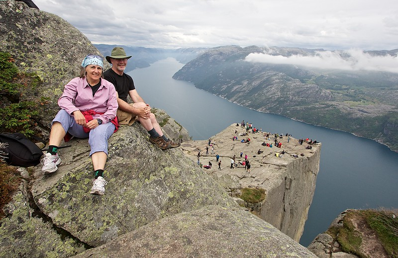 This is the only photo of the two travelers to Norway on this Rover trip in July 2014.