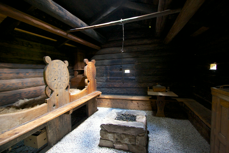 The interior of the Norwegian house in the 16th century. Still an open fire pit in the middle of the house.. just like an old Viking longhouse. Tinn Museum Rjukan Norway