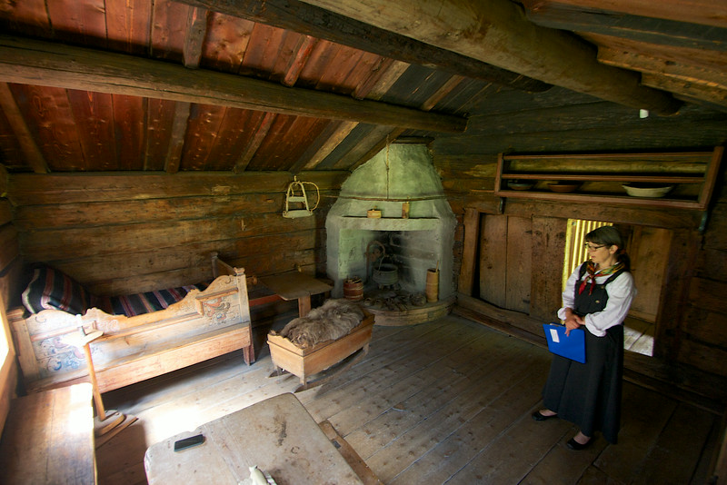 By the 18th century they got a fireplace in the corner of the house...Now thats progress! Tinn Museum Rjukan Norway