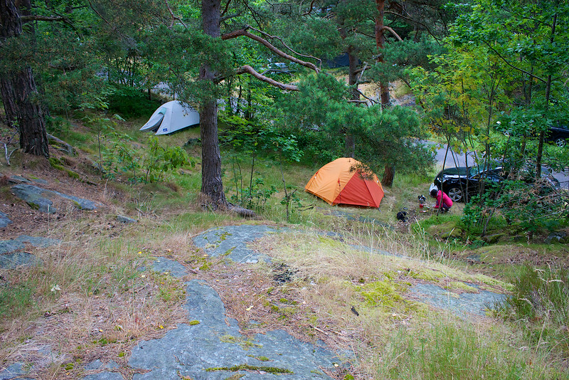 Our campsite in Kristiansand Norway. It was a Friday night and the place was party central... but we found a small terraced campsite just big enough for the car and tents.
