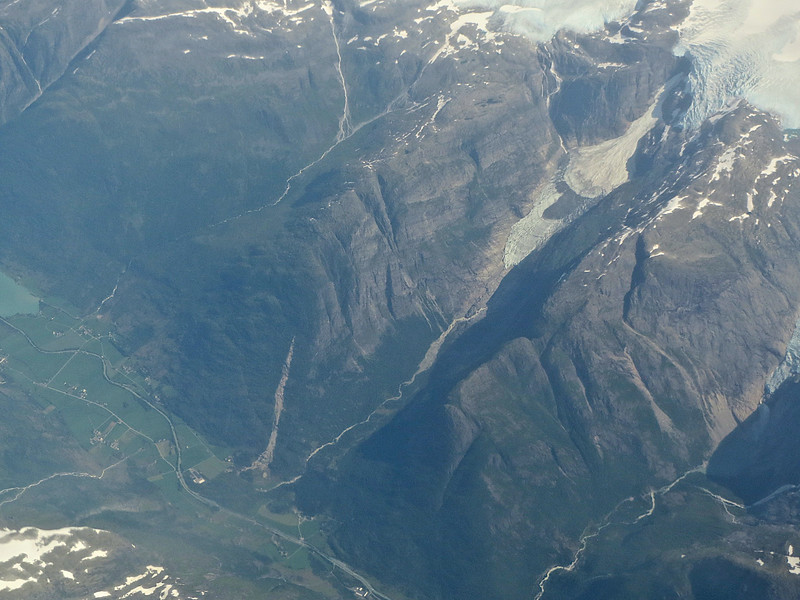 Jostedalsbreen National Park. 2014. Flying out of Norway, I took this photograph from the airplane window of the place we hiked two years ago. Jostedalsbreen National Park Norway.