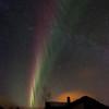 The aurora behind the Nordlandshuset
