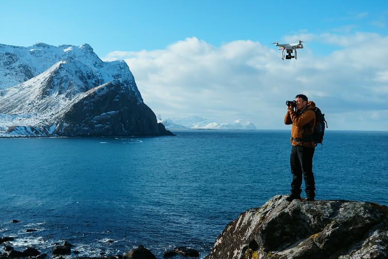 The DJI Phantom Drone  hovers overhead as Chris captures a landscape photo
