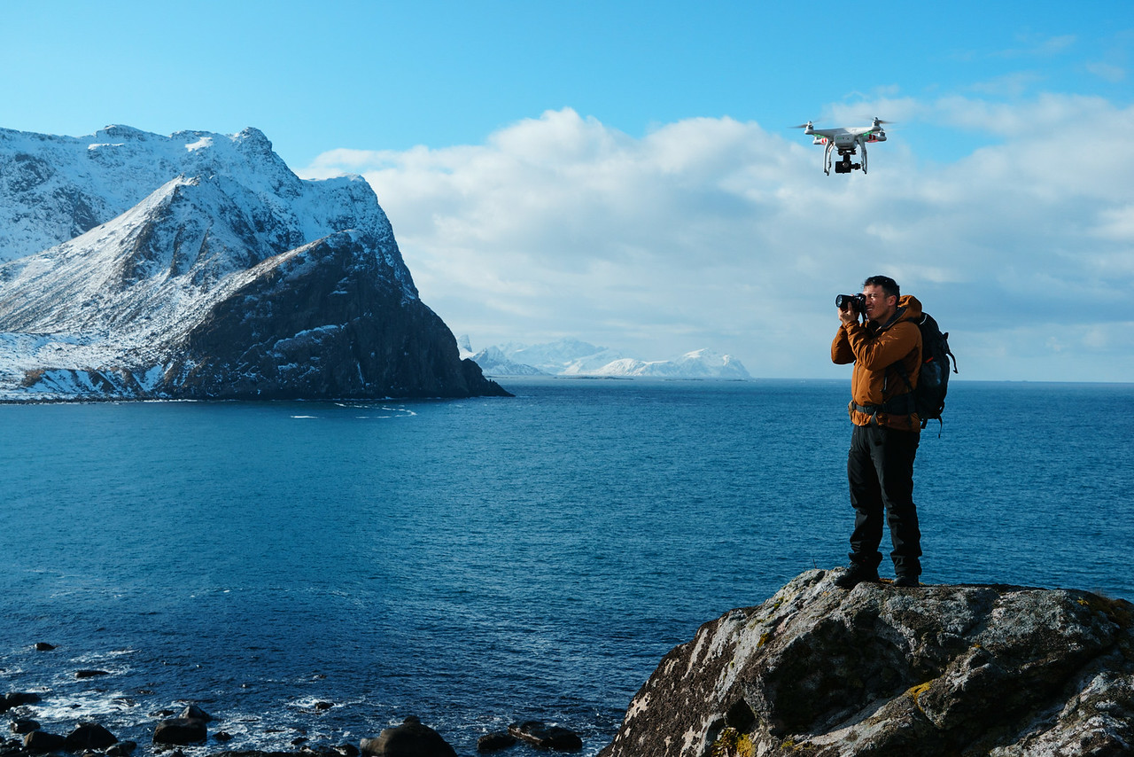 The DJI Phantom Drone  hovers overhead as Chris captures a landscape photo