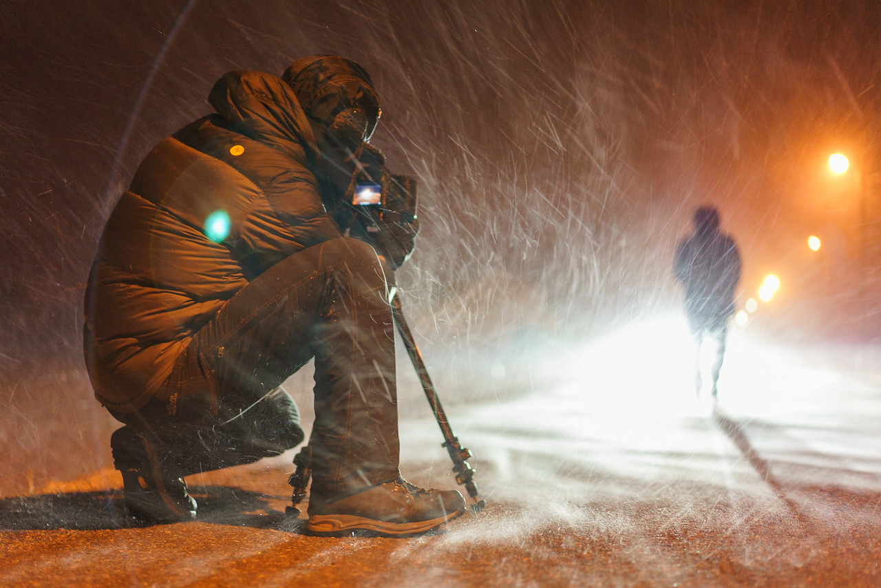 SmugMug Videographer Anton Lorimer follows Chris as he walks through the hard blowing storm that welcomed the team