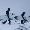 Getting to the surf in fresh powder proved to be no easy task for Chris and the surfers.