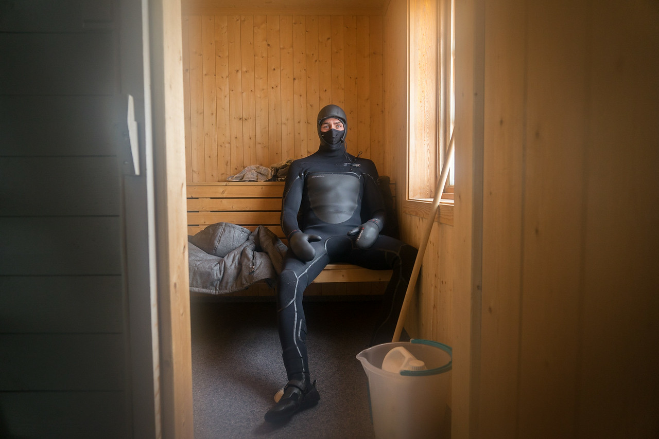 A built in sauna kept the surfers warm after being in the arctic water. It also provided a secondary (but much more efficent use)....clothing dryer.