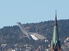 Holmenkollen from Akershus Fortress. Look for this church steeple in the previous photograph.