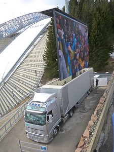 Can you believe this, a semi truck purpose built to transport a huge TV!