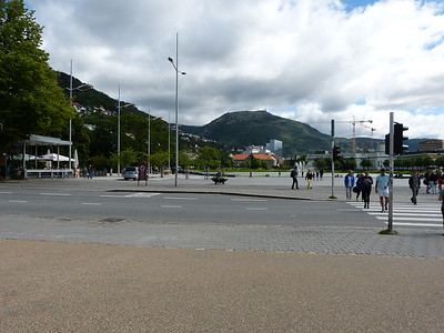 City of Bergen, Norway, August 08, 2012 Christies Gate, with Mount Ulriken in background