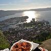Norwegian smoked salmon over looking Bergen
