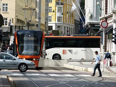 City of Bergen, Norway, August 08, 2012 Bergen Tramway terminus - Kaigaten.