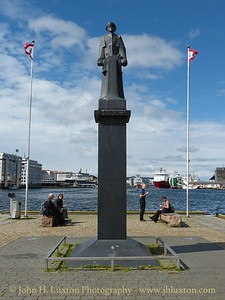 """City of Bergen, Norway, August 08, 2012 The """"Shetland Bus"""" memorial commemorates the secret boat service which maintained communications between the UK Shetland Islands and Occupied Norway during World War II."""